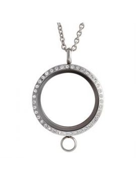 Large Silver with Crystals Linkable Locket