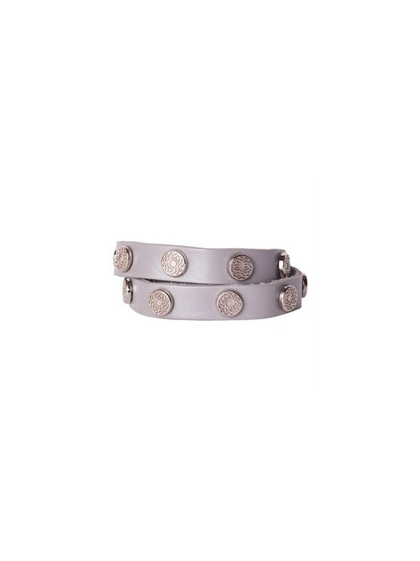 Silver Metallic Leather Wrap with Silver Studs