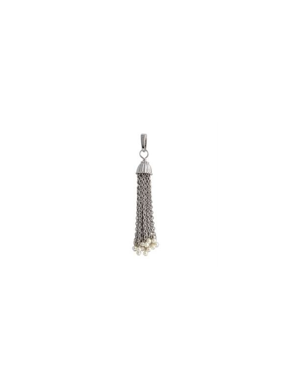 Silver with Pearls Tassel