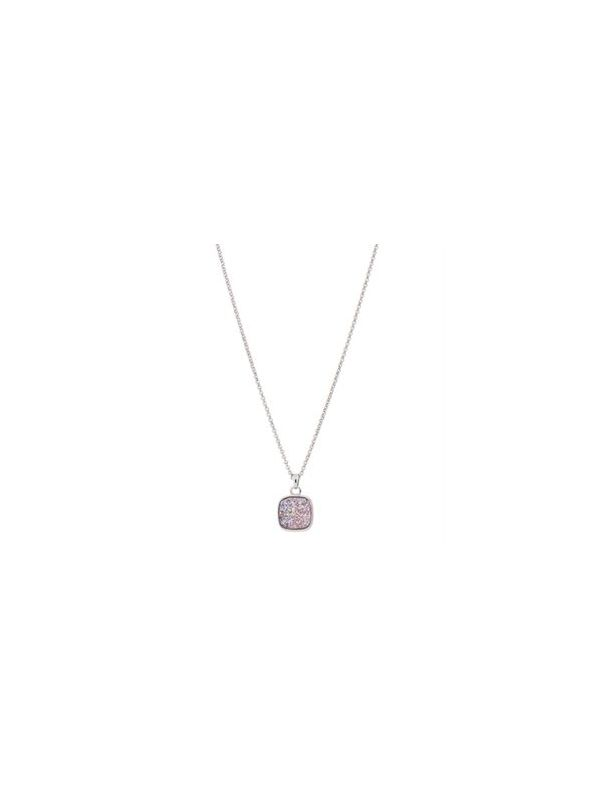Pink Faux Druzy Necklace - 18""