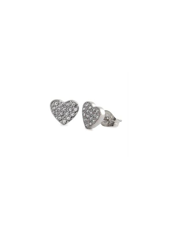 Silver Crystal Heart Studs