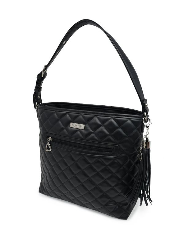 Stella Quilted Black Large Handbag